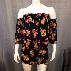 Off the shoulder Black Foral Dress with Sleeves